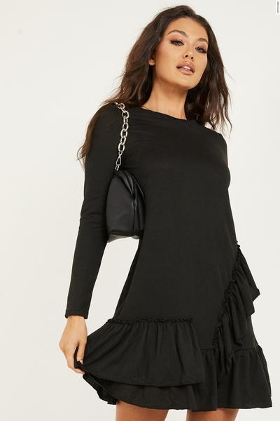 Black Light Knit Frill Hem Dress